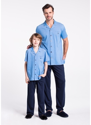 Dagi Erkek Çocuk Gömlek Kısa Kollu Pijama Takımı Mavi